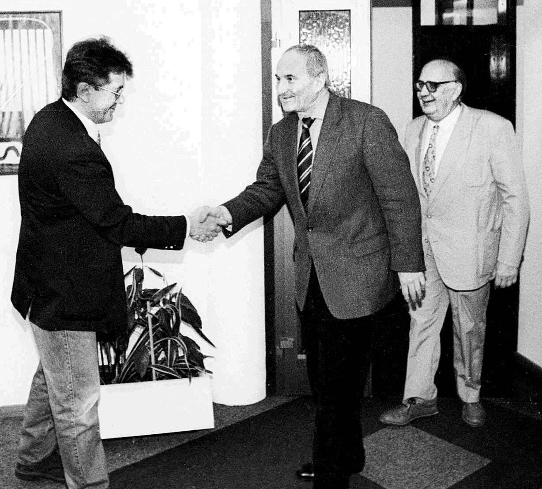 Novinarska i političke legende – Veljko Vičević, Vlado Gotovac i Ivo Škrabalo u Novom listu sredinom devedesetih / Foto NL ARHIV