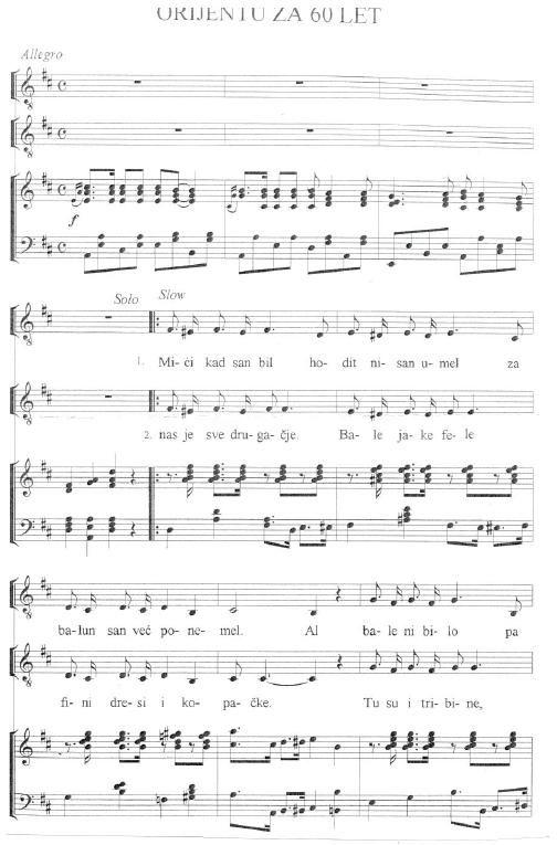 Himna koju je Dušan Prašelj za 60. rođendan napisao NK Orijentu