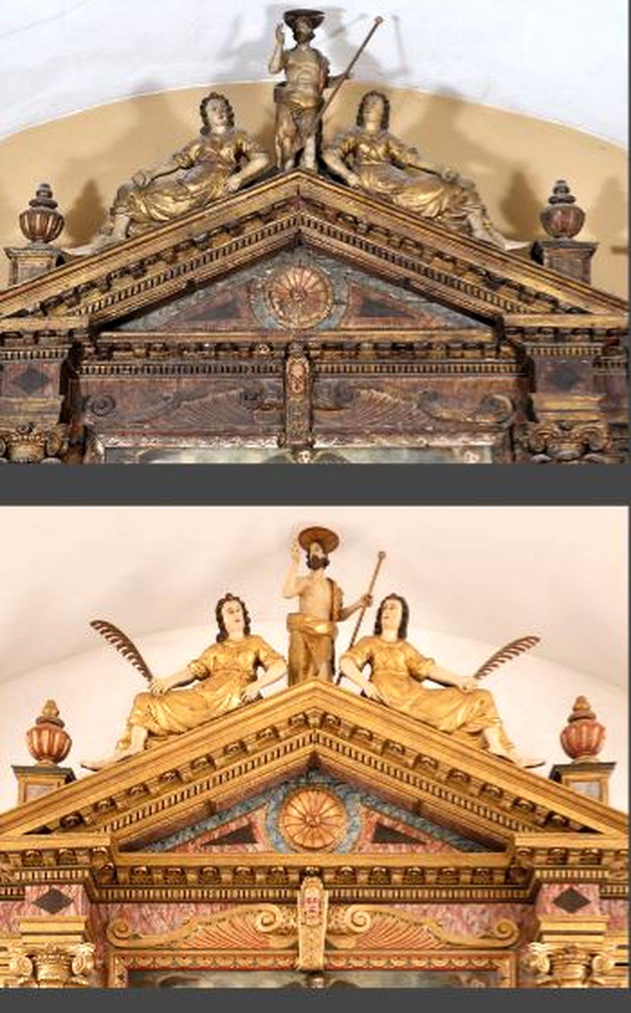 Atika glavnog oltara prije i nakon izvedenih zahvata / Snimio Mladen TRINAJSTIĆ