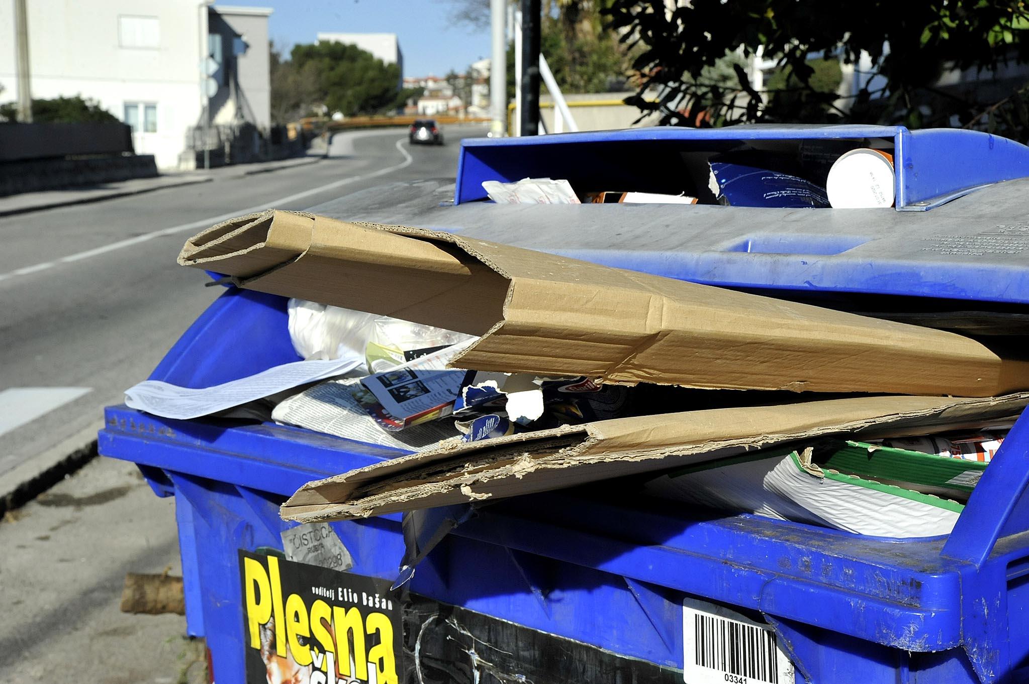 Prepuni spremnik za papir u Ulici Brdo / Snimio Sergej DRECHSLER