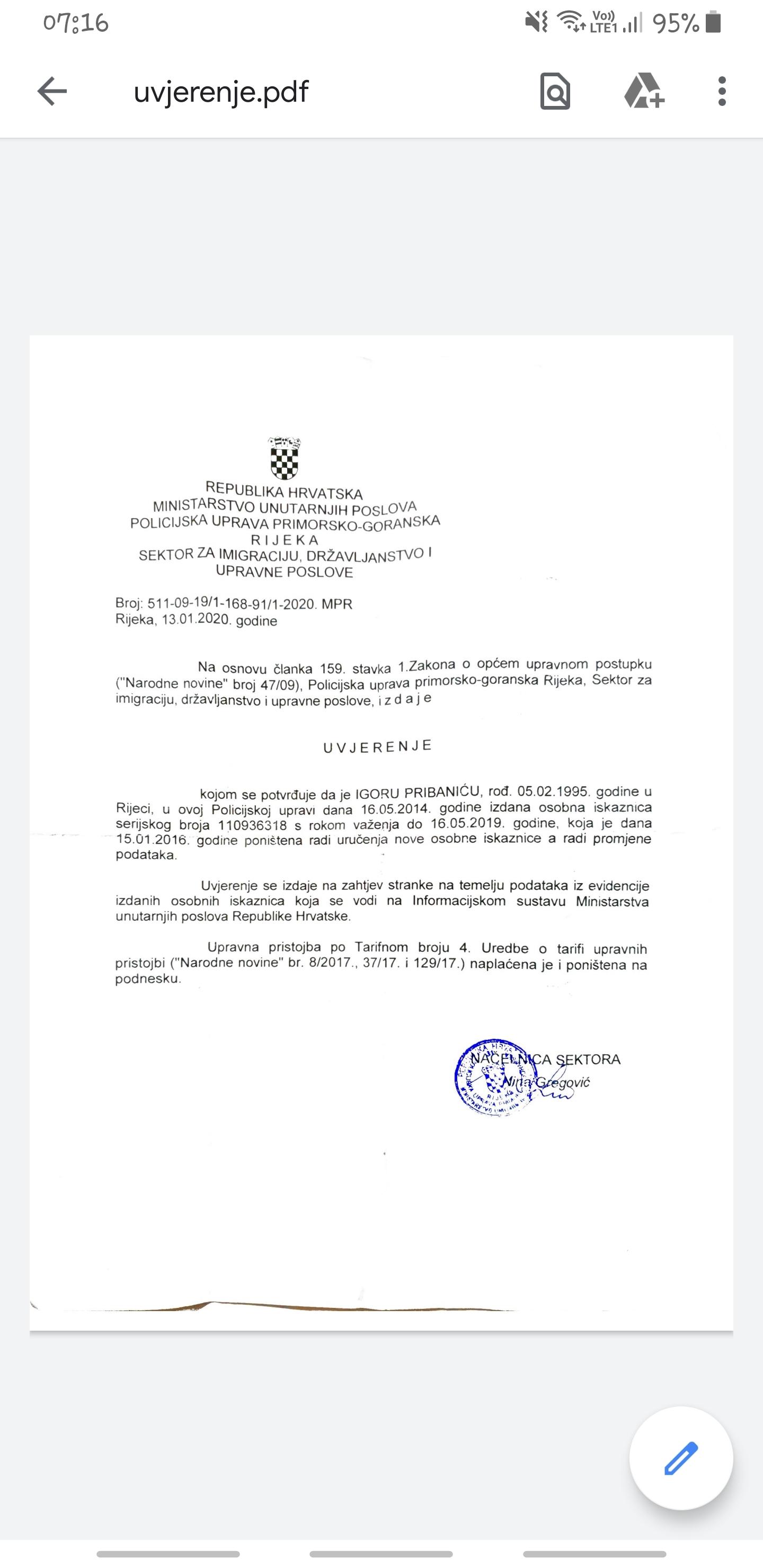 : Potvrda iz PU primorsko-goranske o nevažećoj osobnoj iskaznici / Foto I. Pribanić