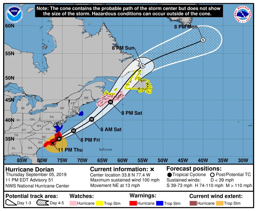 FOTO/NOAA, Predviđanja putanje uragana Dorian
