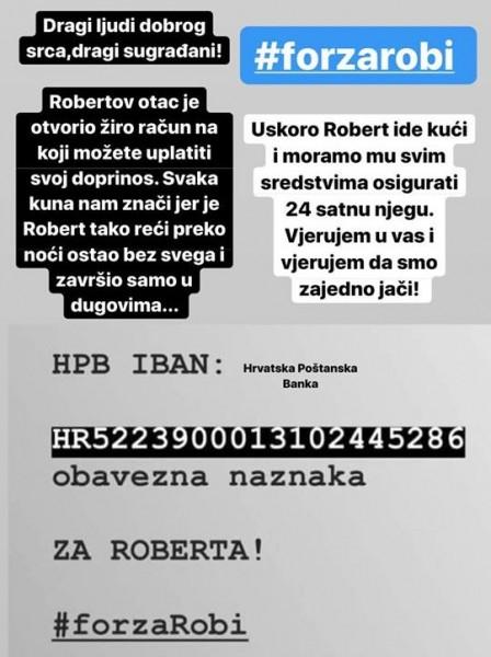 Račun na koji se može uplatiti pomoć za Roberta Ivanovića