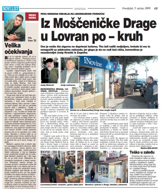 Novi list, 5. siječnja 2009.