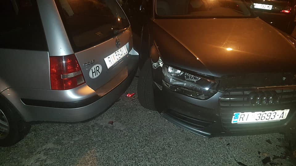 Oštećeni automobili u Sušačkoj Dragi / Foto facebook / Problemi u prometu - Riejka i okolica