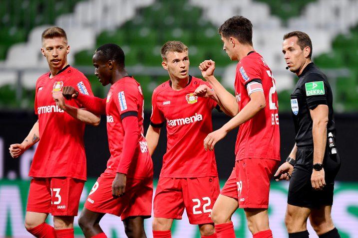 Igrači Bayera slave prvi gol Kaija Havertza/Foto REUTERS