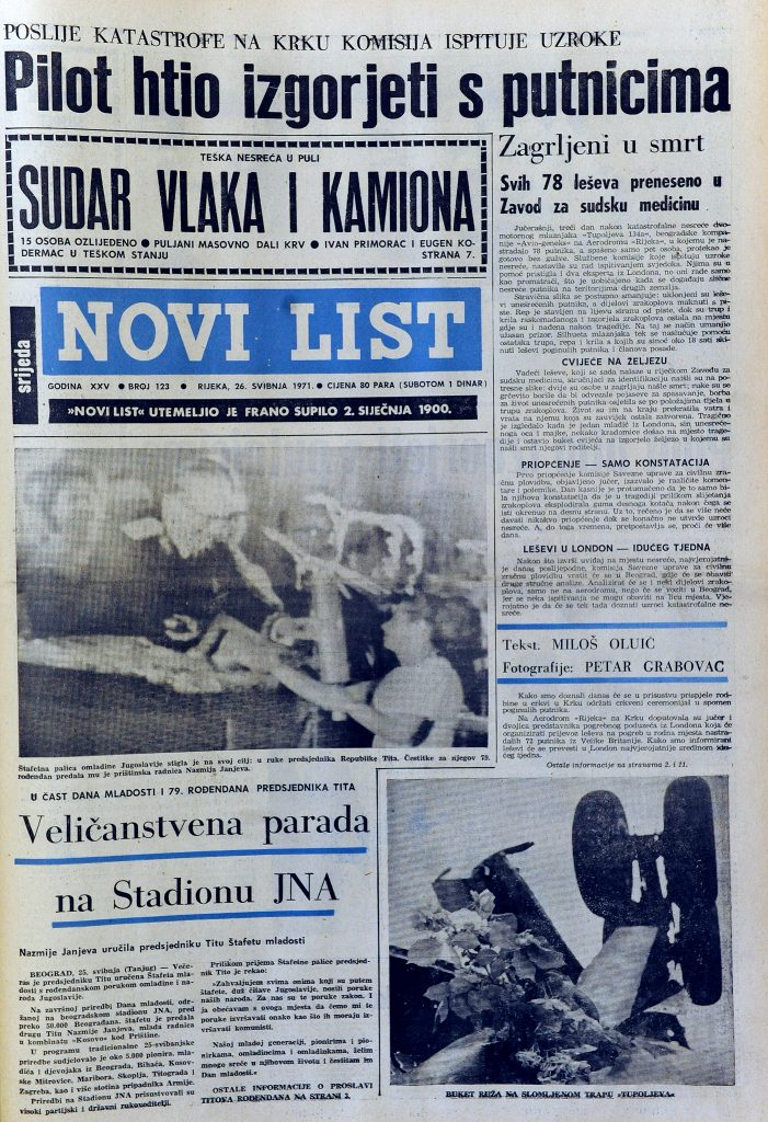 Preslike Novog lista o avio nesreći na aerodromu Krk 1971. / Snimio Marko GRACIN