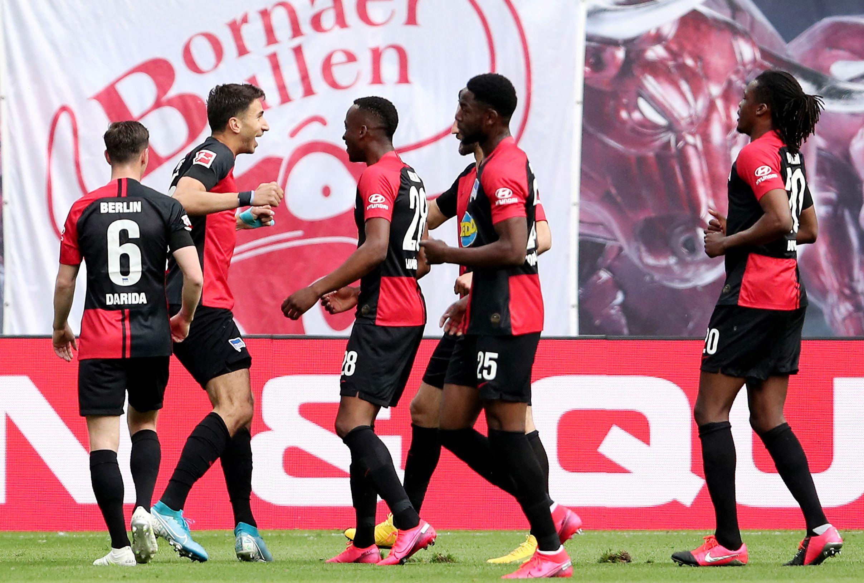 Igrači Herthe slave vodeći gol u Leipzigu/Foto REUTERS