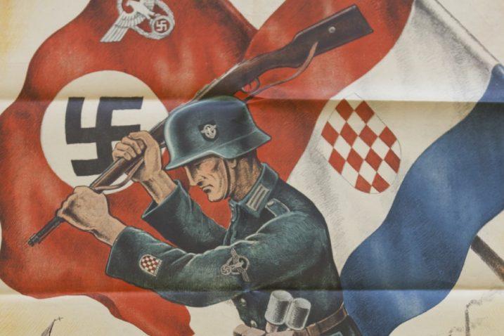 Detalj s propagandnog plakata NDH-a, koji veliča suradnju s nacistima