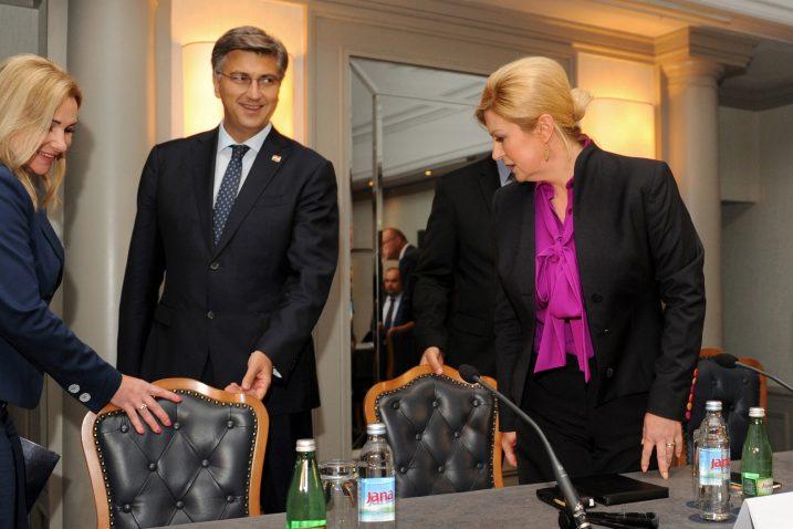 Tko će na koju stolicu? - Andrej Plenković i Kolinda Grabar-Kitarović / Foto Darko JELINEK