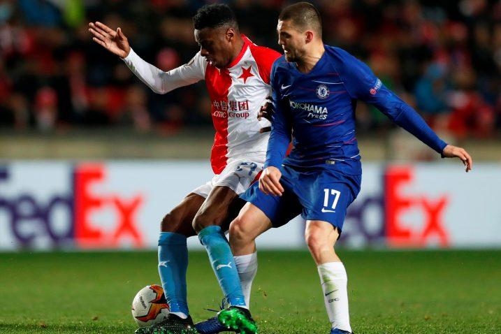 Ibrahim-Benjamin Traore (Slavia Prag) i Mateo Kovačić (Chelsea)/Foto REUTERS