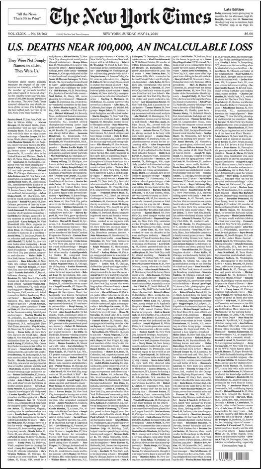Naslovnica nedjeljenog izdanja New York Timesa sastavljena je isključivo od imena osoba preminulih od koronavirus