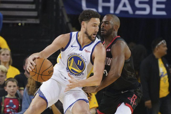 Klay Thompson (Golden State Warriors) i Chris Paul (Houston Rockets)/Foto REUTERS