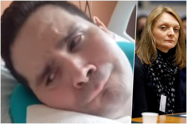 Vincent Lambert na bolesničkom krevetu, njegova supruga pred Europskim sudom / Foto Screenshot YouTube, Reuters