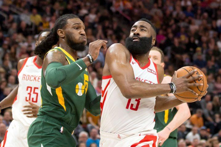 Ricky Rubio (Utah Jazz) i James Harden (Houston Rockets)/Foto REUTERS