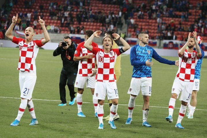 Hrvatski reprezentativci slave pobjedu u Trnavi/Foto PIXSELL