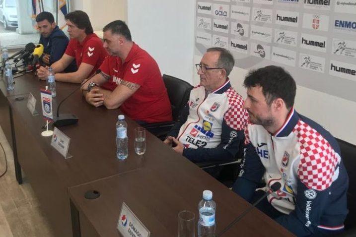 Izbornik Lino Červar i Domagoj Duvnjak na presici uoči sutrašnje utakmice/Foto HRS