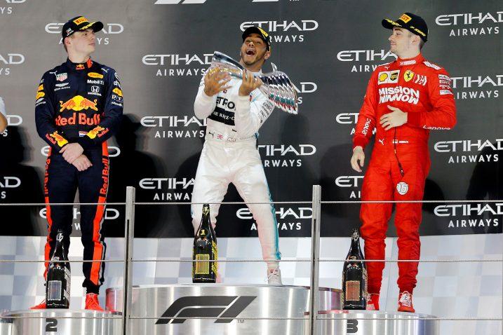 Max Verstappen, Lewis Hamilton i Charles Leclerc/Foto REUTERS