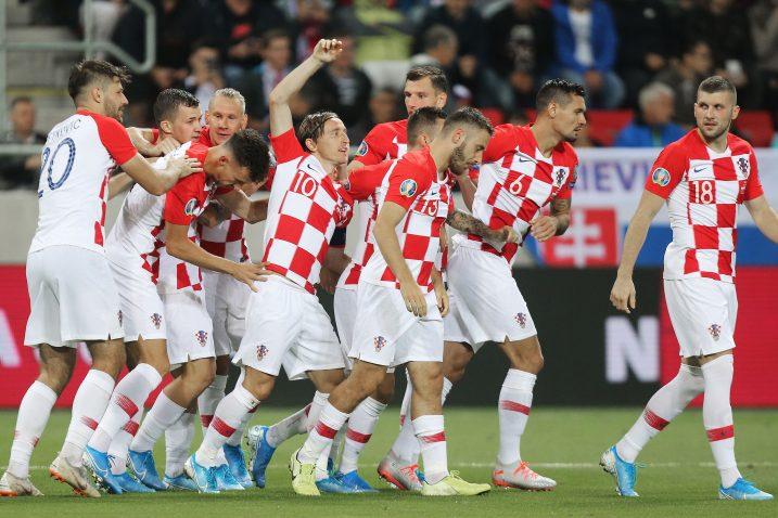 Hrvatski reprezentativci slave jedan od pogodaka u Trnavi/Foto PIXSELL