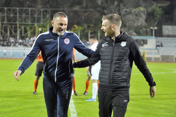 Hari Vukas i Simon Rožman, treneri Zrinjskog i Rijeke nakon utakmice na Kantridi/Foto Arhiva NL