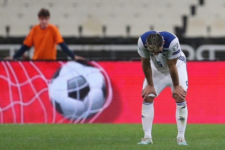 Sead Kolašinac ovako je reagirao nakon što je Adnan Kovačević postigao autogol u Ateni/Foto REUTERS