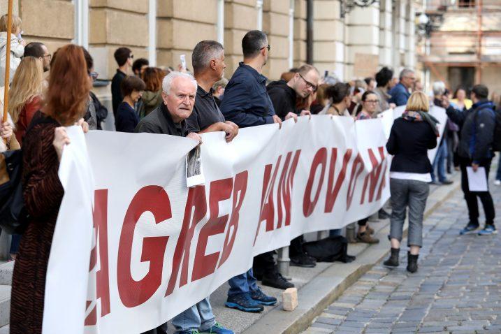 HDZ i Bandić na meti prosvjednika / Foto: Patrik Macek/PIXSELL