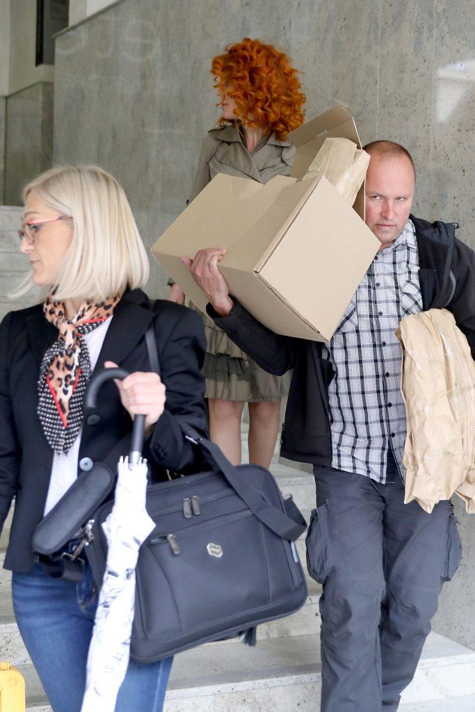 Ana Karamarko izlazi u pratnji policije iz prostorija tvrtke Drimia/ Photo: Patrik Macek/PIXSELL