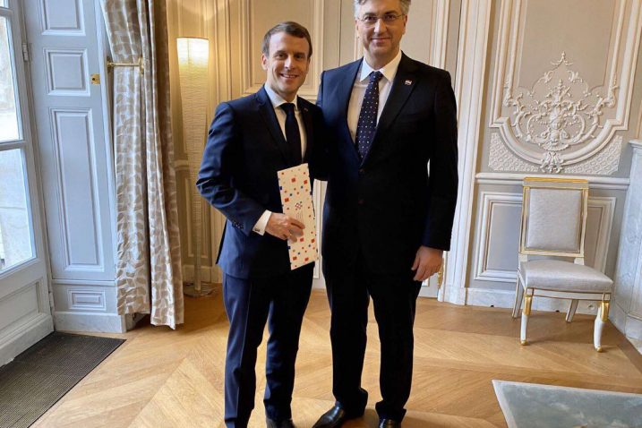 Emmanuel Macron i Andrej Plenković u Parizu