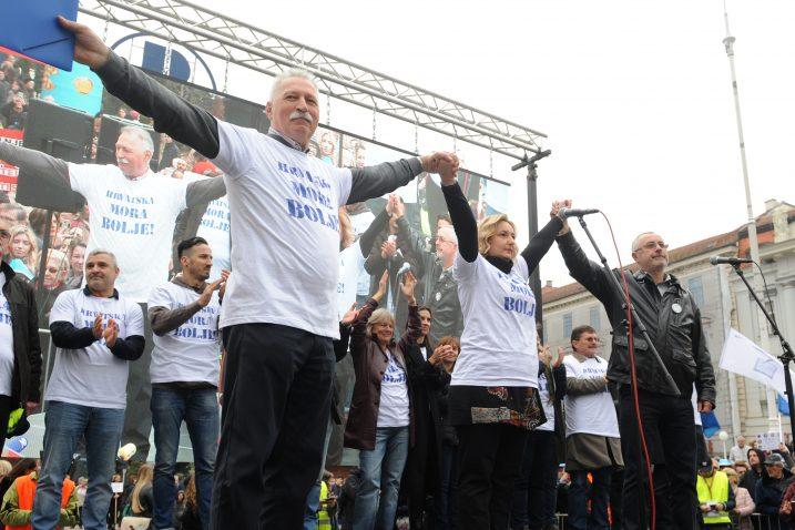 Sindikalni čelnici Branimir Mihalinec, Sanja Šprem, Željko Stipić i Vilimo Ribić na velikom prosvjedu u Zagrebu, dok su još svi bili jedinstveni / Foto Darko Jelinek