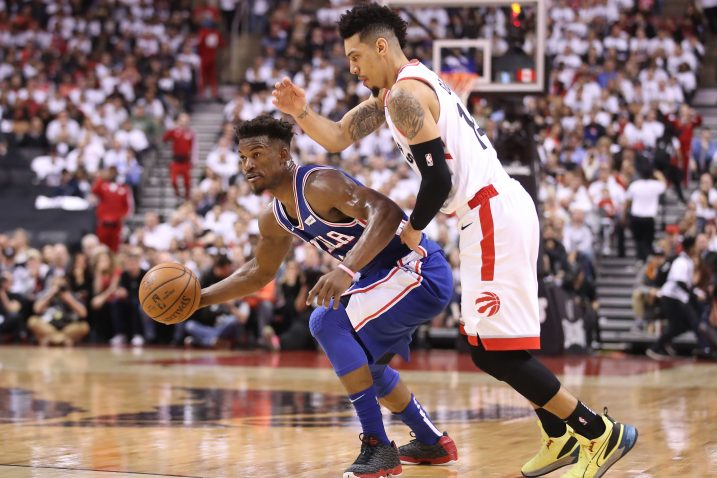 Jimmy Butler (Philadelphia 76ers) i Danny Green (Toronto Raptors)/Foto REUTERS