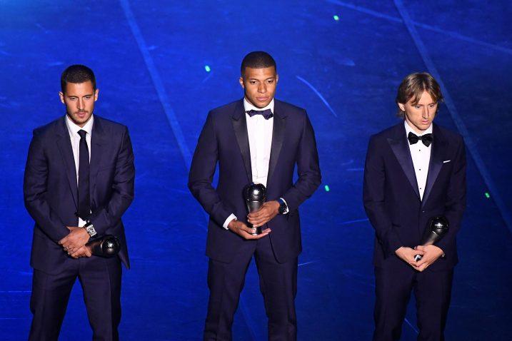 Eden Hazard, Kylian Mbappe i Luka Modrić/Foto REUTERS