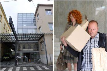 Ana Karamarko izlazi u pratnji policije iz prostorija tvrtke Drimia/ Photo: Patrik Macek/PIXSELL; zgrada u kojoj se nalazi tvrtka Ane Karamarko / Foto: D. KOVAČEVIĆ