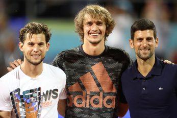 Dominic Thiem, Alexander Zverev i Novak Đoković u Beogradu/Foto REUTERS