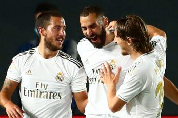 Eden Hazard, Karim Benzema i Luka Modrić/Foto REUTERS
