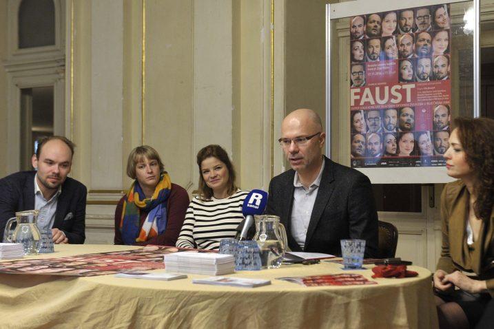 Ville Matvejeff, prevoditeljica, Marjukka Tepponen, Marin Blažević i Ivana Srbljan / Snimio Vedran KARUZA
