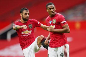 Anthony Martial i Bruno Fernandes (Manchester United)/Foto REUTERS