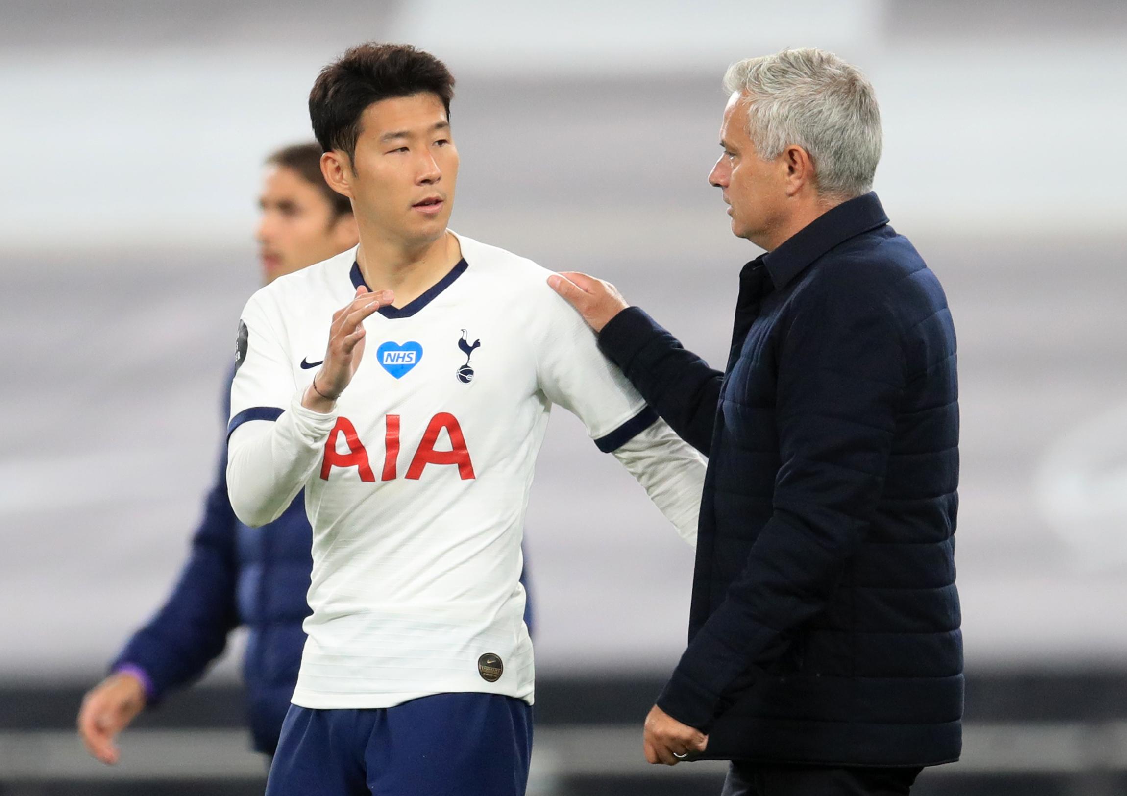 Son Heung-min i Jose Mourinho (Tottenham)/Foto REUTERS
