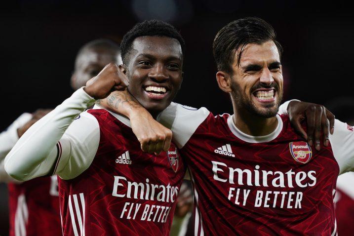 Eddie Nketiah i Dani Ceballos (Arsenal)/Foto REUTERS