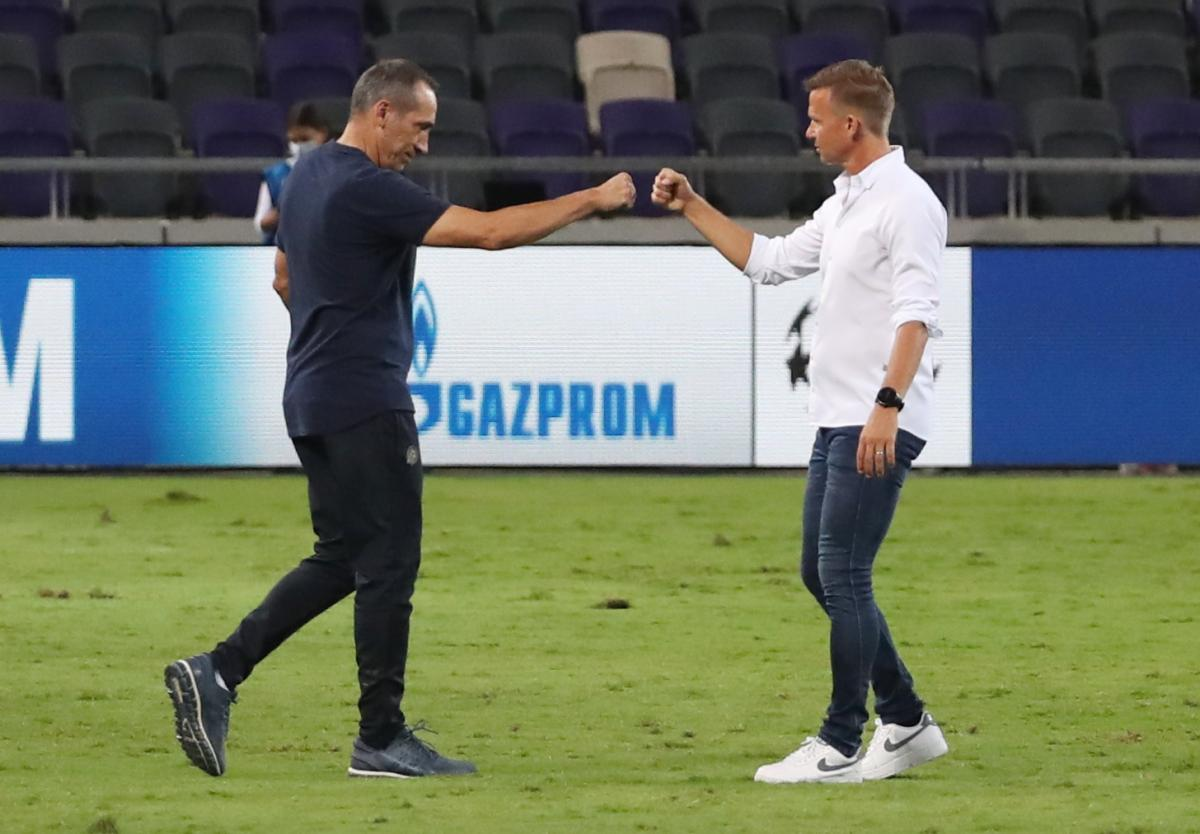 Trener Salzburga Jesse Marsch i trener Maccabija Giorgos Donis/Foto REUTERS