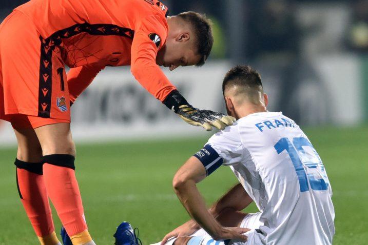 Franko Andrijašević i vratar Real Sociedada/Foto Arhiva NL