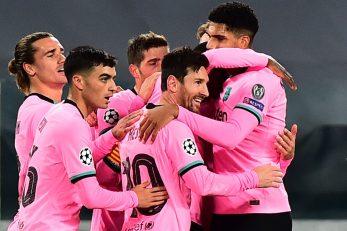 Leo Messi i suigrači slave/Foto REUTERS