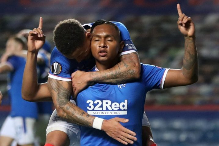 Igrači Rangersa slave pogodak/Foto REUTERS