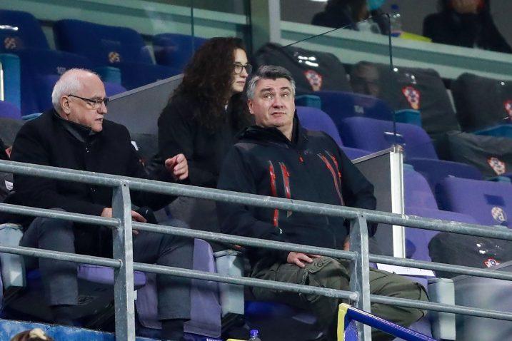 Zoran Milanović u maksimirskoj loži tijekom susreta s Francuzima/Foto PIXSELL