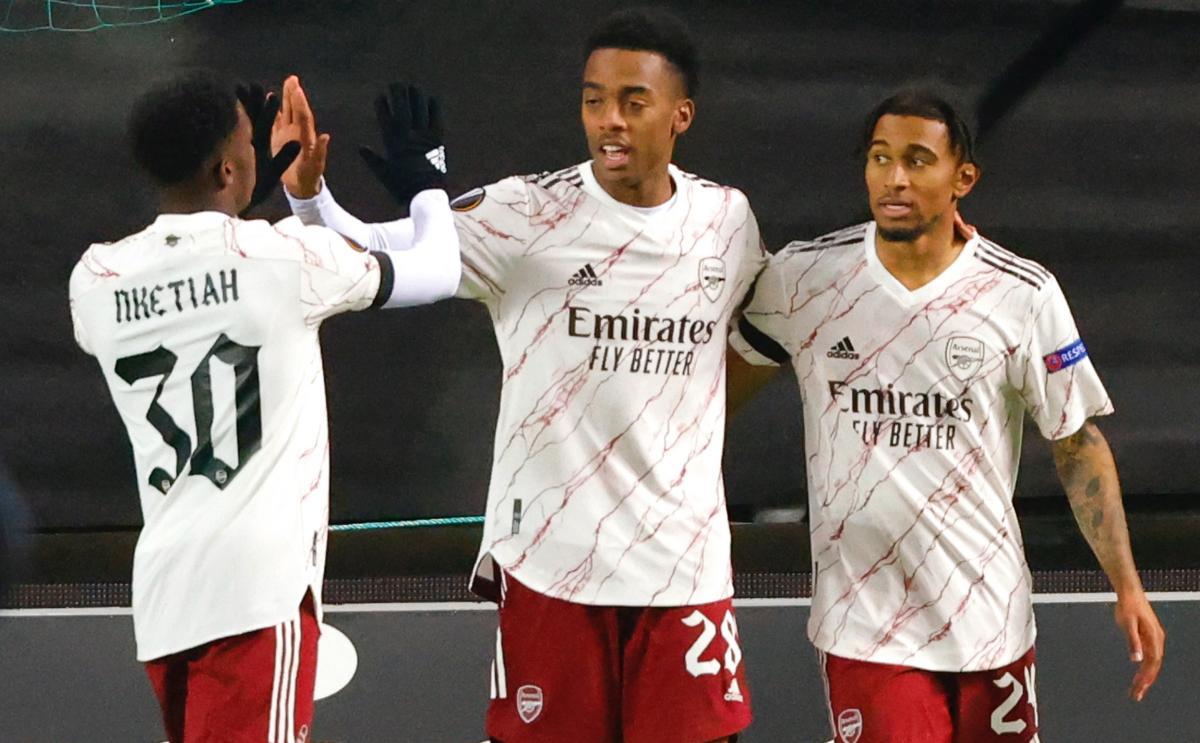 Igrači Arsenala slave pogodak/Foto REUTERS