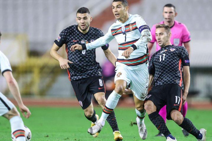 Mateo Kovačić, Cristiano Ronaldo i Marko Rog/Foto: S. Midzor/PIXSELL