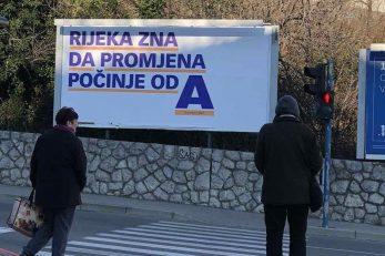 """Po cijeloj Rijeci pojavili su se jumbo plakati s porukom """"Rijeka zna da pormjena počinje od A"""""""