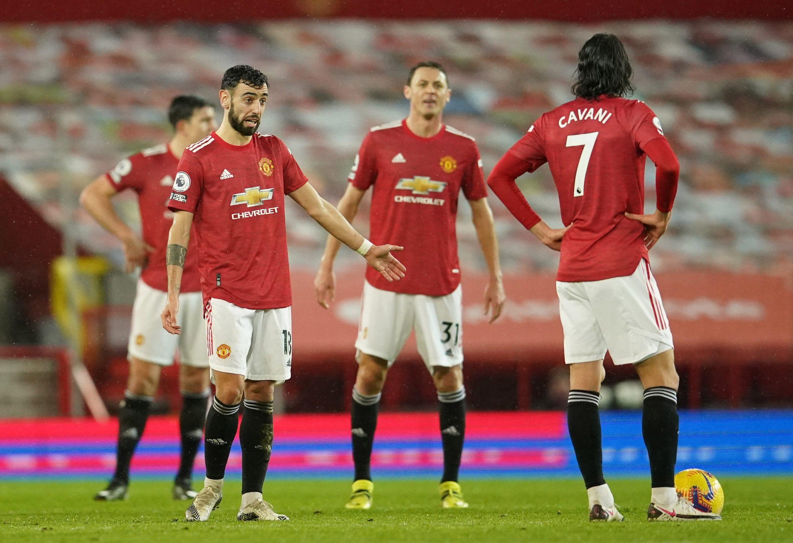 Nemanja Matić, Bruno Fernandes i Edinson Cavani (Man. United)/Foto REUTERS