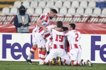Igrači Crvene zvezde slave veliki bod protiv Milana/Foto REUTERS