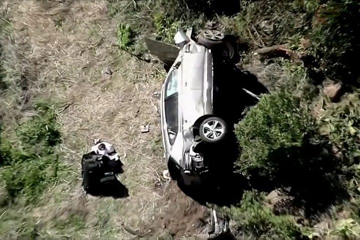 Mjesto nesreće i Tigerov SUV snimljeni iz zraka/Foto REUTERS