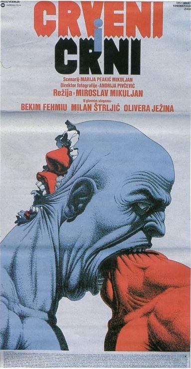 Nagrađeni plakat Mirka Ilića za film »Crveni i crni«